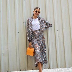 Zara Skirts - Set of Satin Bomber and Skirt - blue leopard print